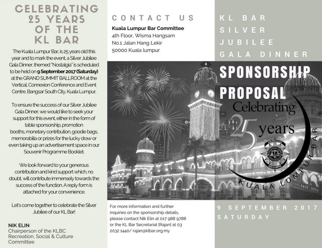Celebrating 25 Years of the Kuala Lumpur Bar – Sponsorship Proposal