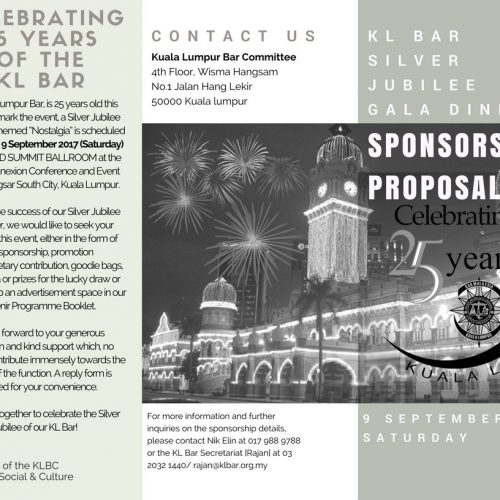 Celebrating 25 Years of the Kuala Lumpur Bar – Sponsorship Proposal