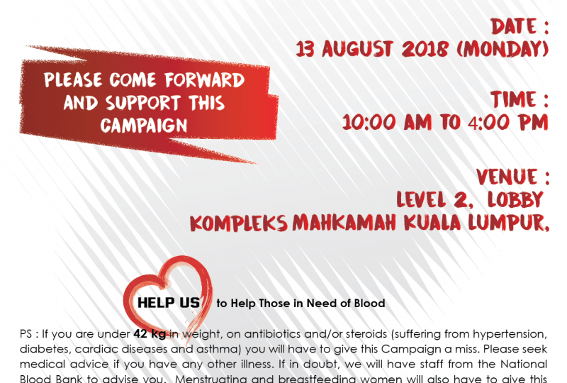 KL Bar Blood Donation Campaign 2018 on 13 August 2018