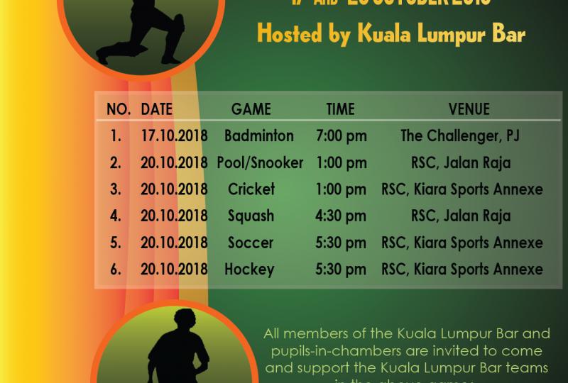 27th Annual Sports Carnival – Kuala Lumpur Bar vs Royal Selangor Club