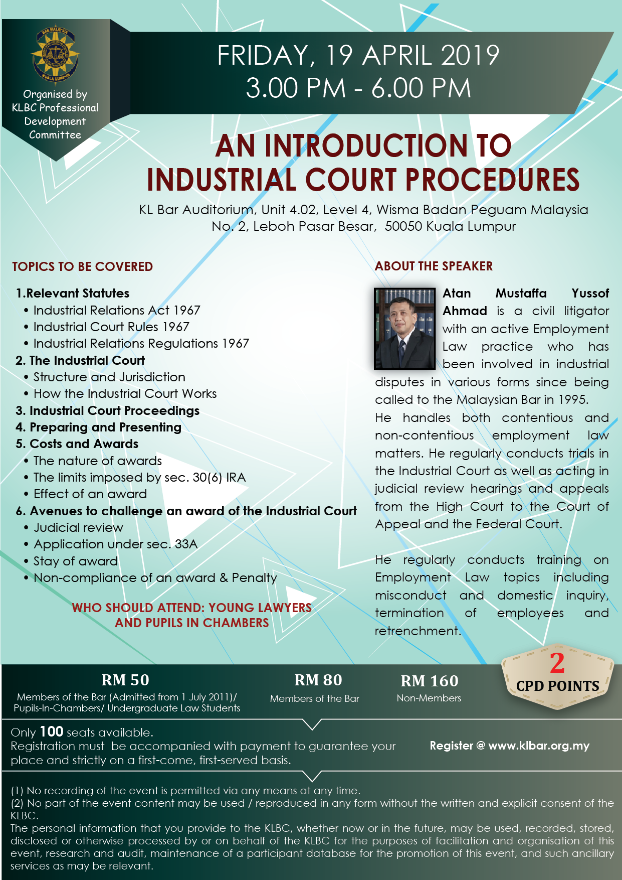 1003dc7e039 PDC Seminar on An Introduction to Industrial Court Procedures on 19 April  2019