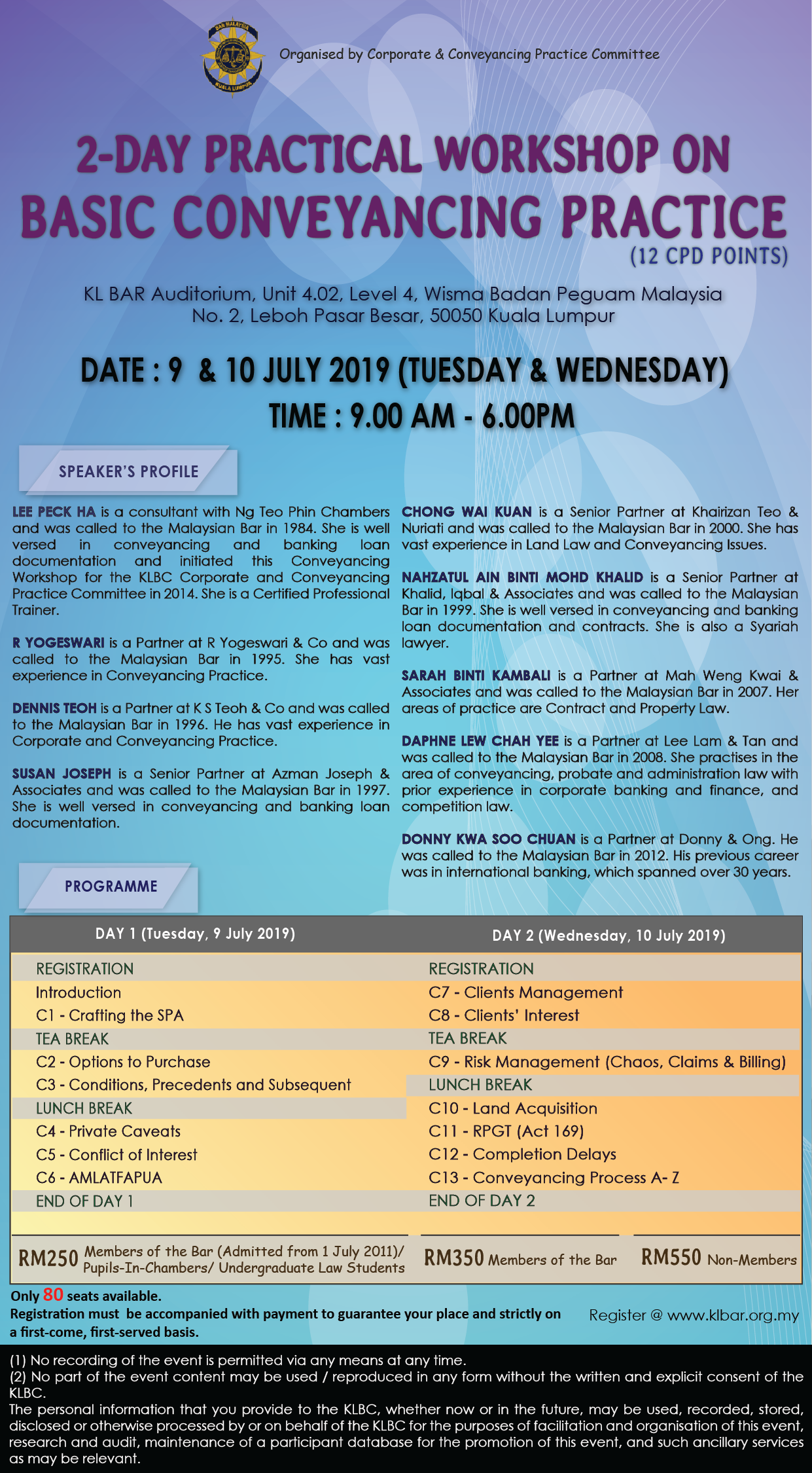 2-Day Practical Workshop on Basic Conveyancing Practice on 9