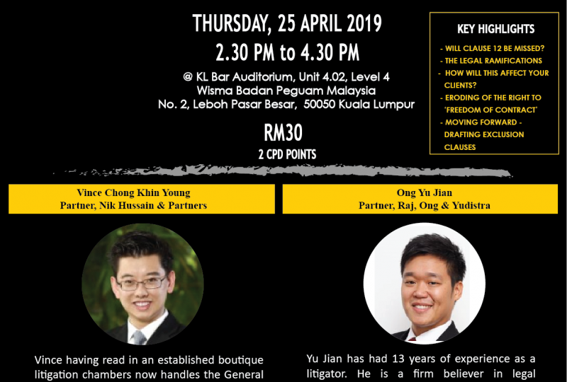 REGISTRATION CLOSED: Seminar on Exclusion Clause – Endgame? on 25 April 2019