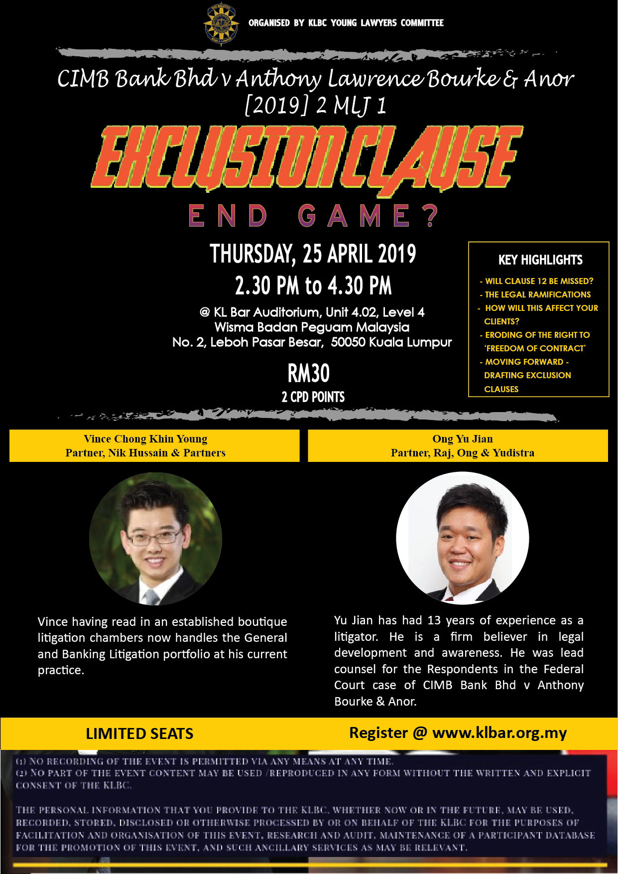 86e5859c398 REGISTRATION CLOSED: Seminar on Exclusion Clause - Endgame? on 25 April 2019  - KL BAR