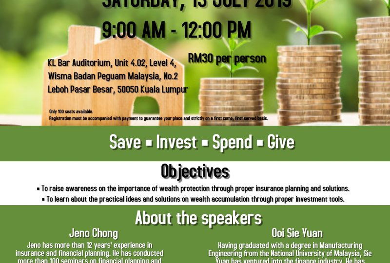 Financial Planning Workshop on 13 July 2019