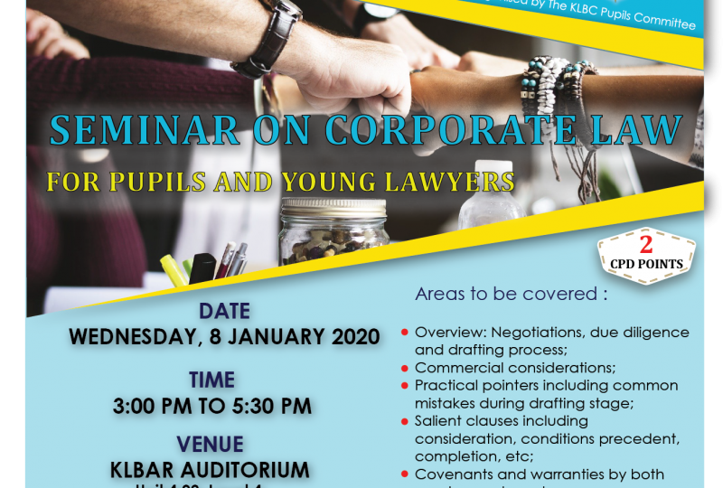 Seminar on Corporate Law for Pupils and Young Lawyers on 8 January 2020
