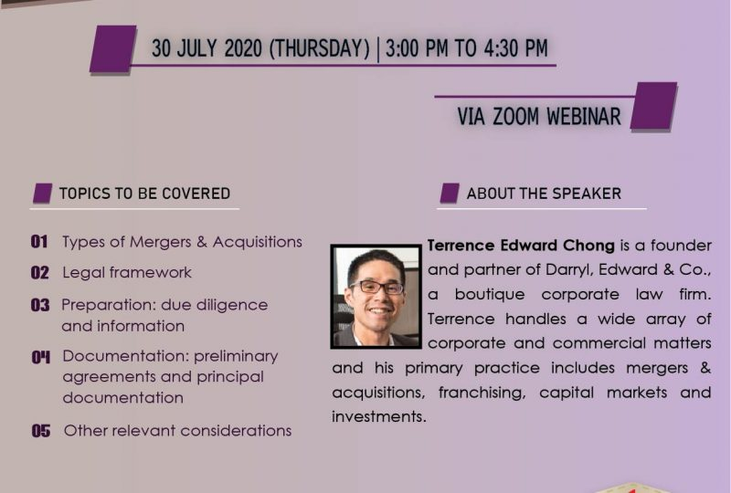 Webinar On Introduction To Mergers & Acquisitions On 30 July 2020