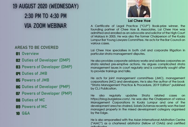 Webinar On What Are The Statutory Duties Of Developer  / JMB / MC? On 19 August 2020
