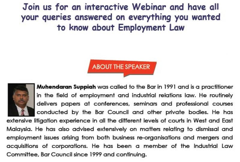Webinar on Q&A Session on Employment Law on 12 August 2020