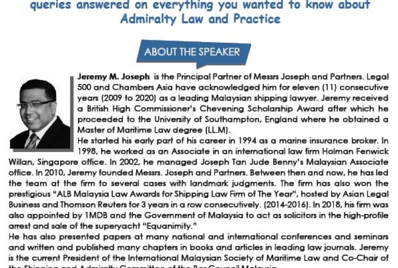 Webinar on Q&A Session on Admiralty Law & Practice on 6 August 2020