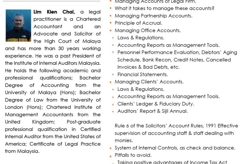 Seminar on Managing Office & Clients' Accounts on 29 September 2020